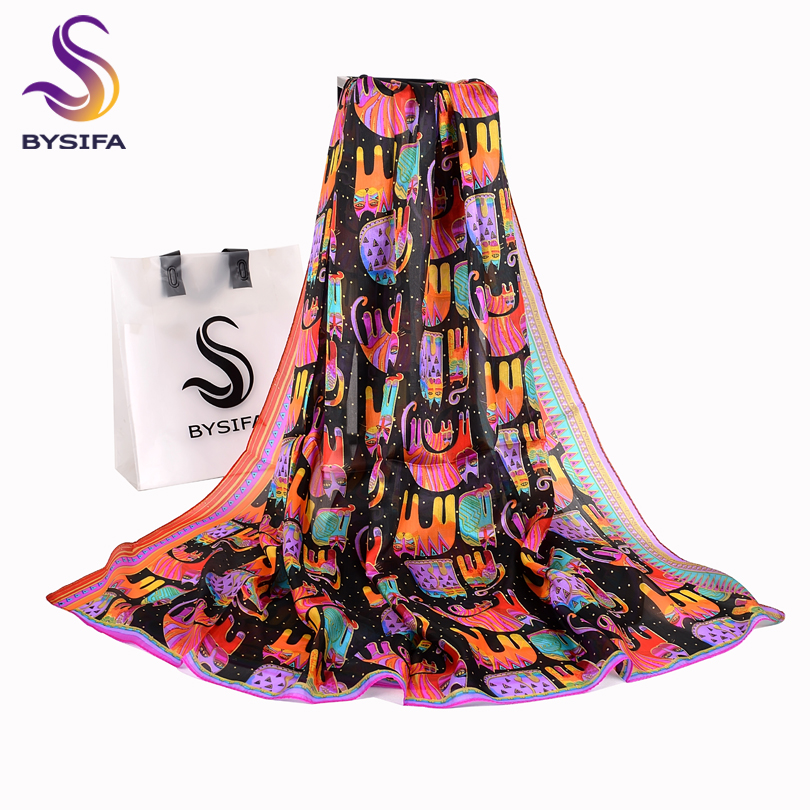 BYSIFA Black Cats Women Silk Scarf Shawl 2018 New Accessories 100% Silk Long Scarves Wraps Spring Autumn Scarf Cape 180*110cm