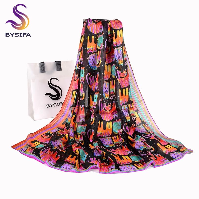 BYSIFA Black Cats Women Silk Scarf Shawl 2018 New Accessories 100% Silk Long Scarves Wraps Spring Autumn Scarf Cape 180*110cm