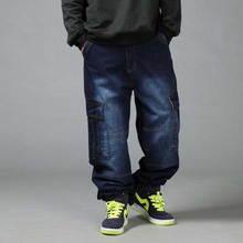Erkek gevşek kot Hiphop artı boyutu 44 46 erkek uzun pantolon ilkbahar sonbahar gelgit erkek giyim dökümlü pantolon 4 mevsim hip Hop