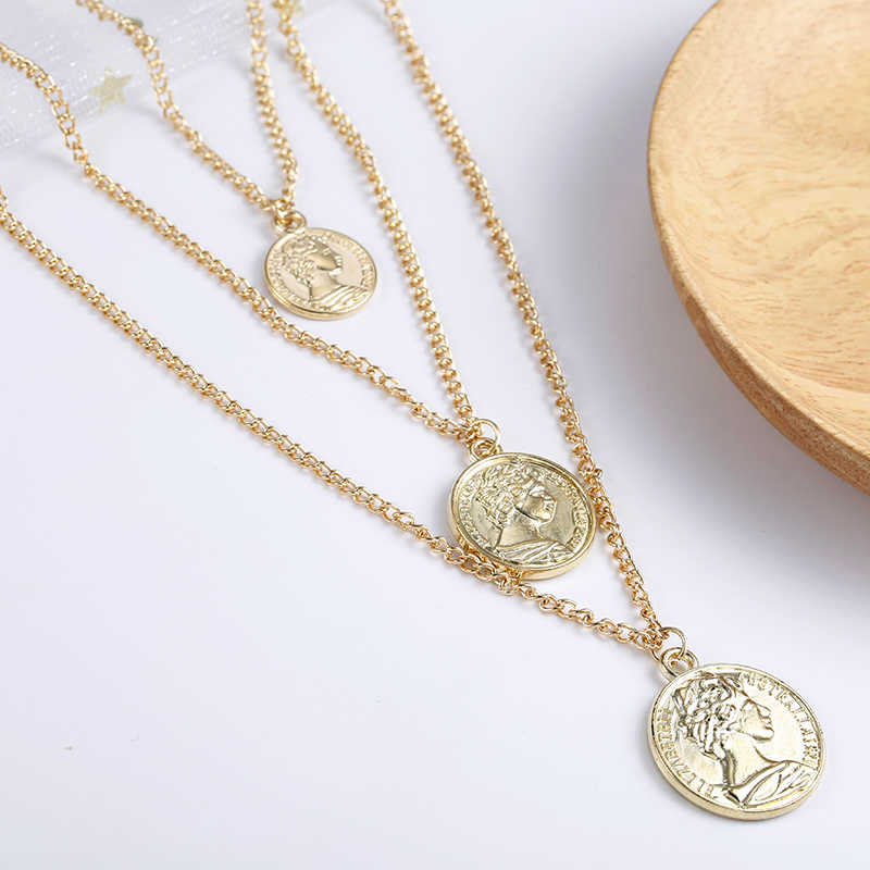 Vintage Coin Necklace For Women Fashion Gold Color Medallion Necklace Multiple Layers Pendant Long Necklaces Boho Jewelry Gift