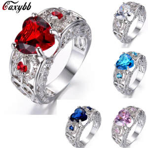 Dropshipping Silver Red Heart Pave Crystal CZ Finger Rings for Women Fashion Wedding