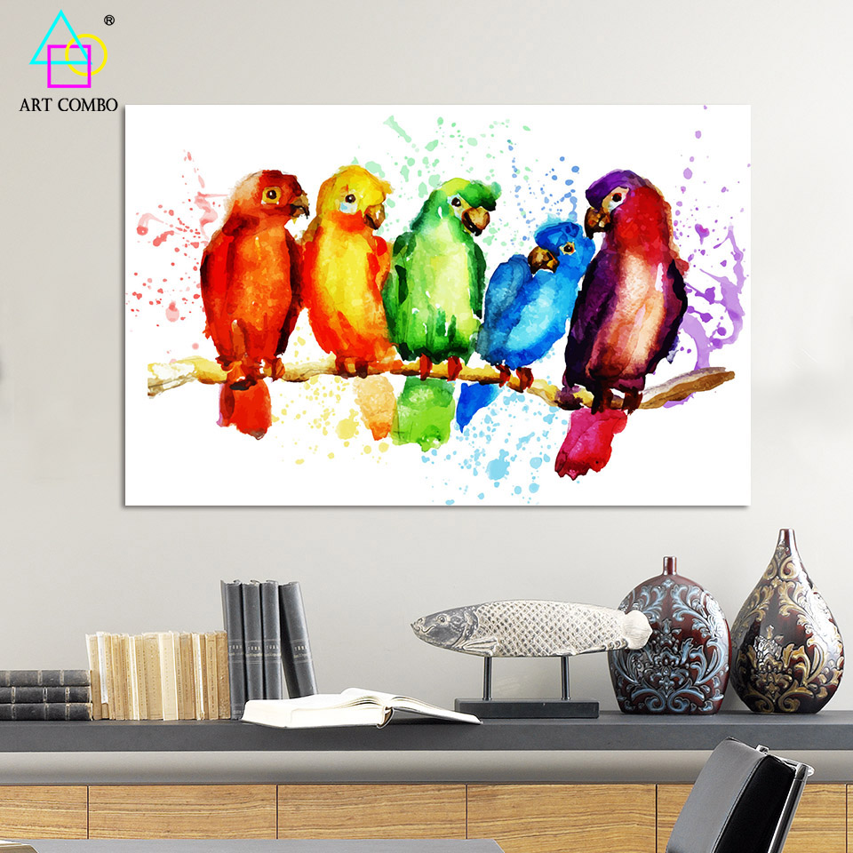 Colorful Room Decor Paint: Watercolor Art Painting Canvas Cheap Colorful Parrot Wall