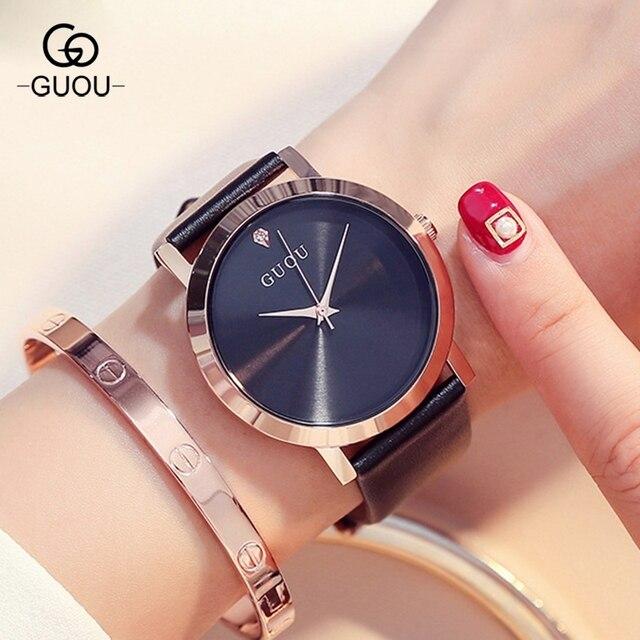 Originele GUOU Brand Eenvoudige Stijl Crystal Zwart Wit Rood Paars Lederen Quartz Armband Polshorloge voor Vrouwen Meisjes