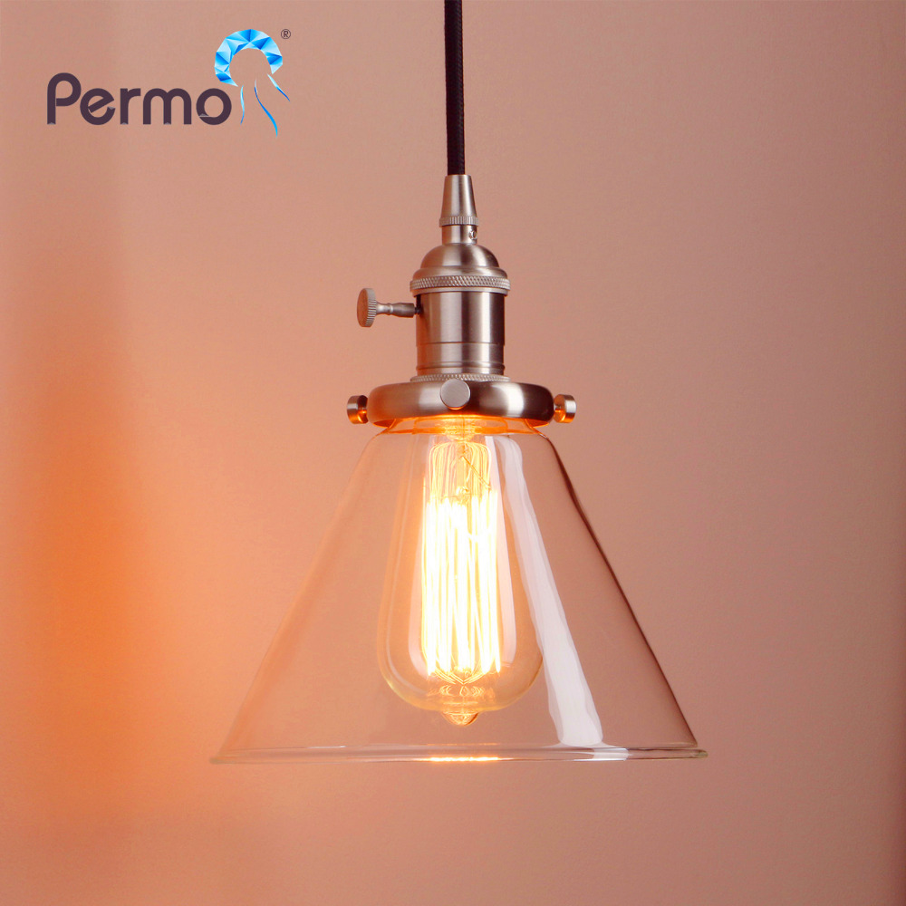 PERMO 7.2'' Funnel Clear Glass Brass Pendant Lights Vintage Pendant Ceiling Lamp Modern Hanglamp Christmas Decorations For Home