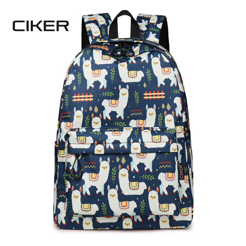 CIKER High Quality Waterproof Polyester Women Backpack Cute Alpaca Animal Pattern Printing Backpack Girls Daily Travel Knapsack