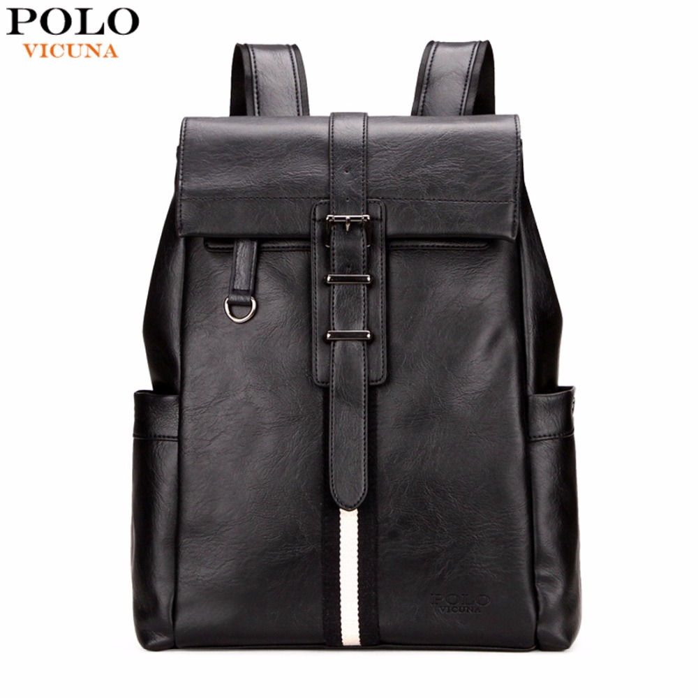 ФОТО VICUNA POLO Simple Striped Black Leather Backpack For Man Fashion Preppy Style Men Backpack Bag Large Size Computer Backpack Bag