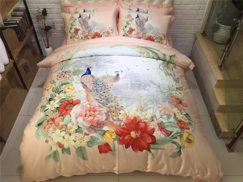 Luxury 100%Cotton 3D flowers Peacock Luxury Bedding set American style Bed set King Queen Size Duvet cover Bedsheet setLuxury 100%Cotton 3D flowers Peacock Luxury Bedding set American style Bed set King Queen Size Duvet cover Bedsheet set