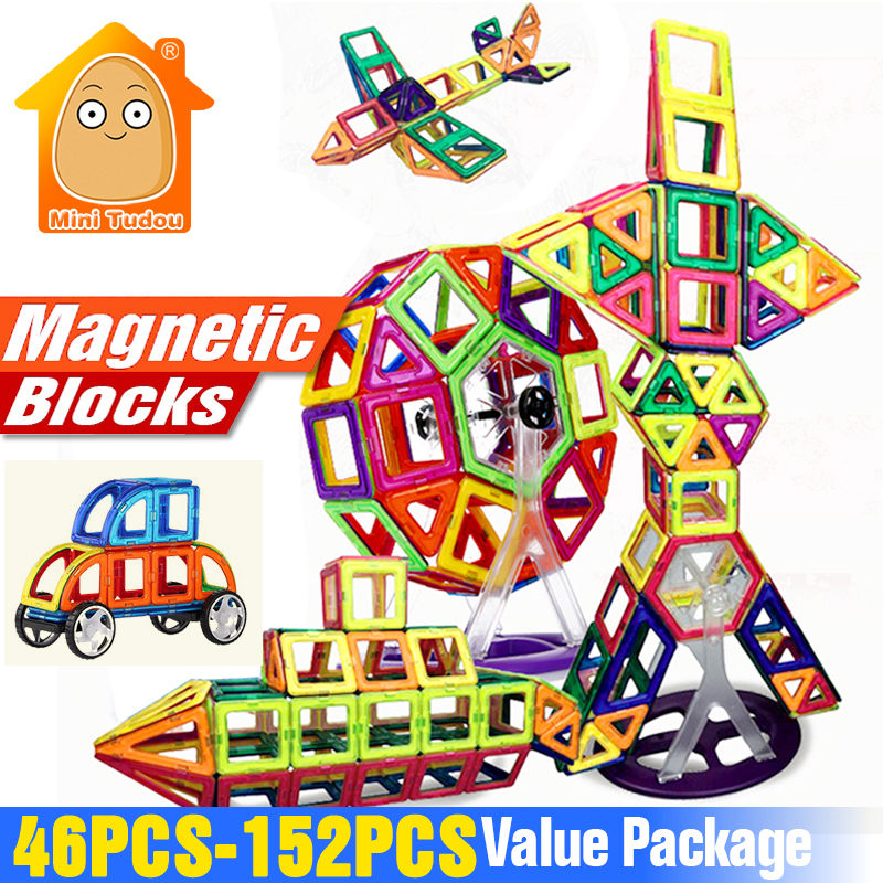 Minitudou 152-46PCS Magnet Toys Building Blocks Magnetic Construction Set Designer Kids DIY Educational Toys Games For Children 3d puzzles metal jigsaw silver children educational games diy for children toys teaser games for kids scale 1 72