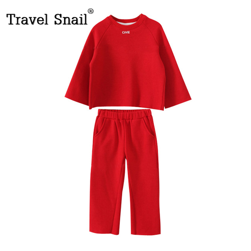 Travel snail 3-8Y girls boys tracksuits costume set t-shirt+pants kids trousers children roupas menino solid full 2017Winter New