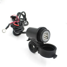 DC 12V-24V Dual USB Charger Socket Mount Marine with Wires Motorcycle Boat Rv Truck Car Plug Power Outlet (Black)(China)