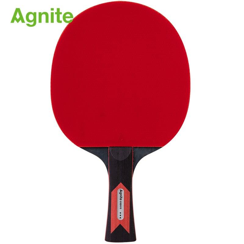 Agnite raquette de ping-pong Double face raquettes en caoutchouc pour tennis de Table débutant entrainement raquette Offensive ping-pong 3 étoiles
