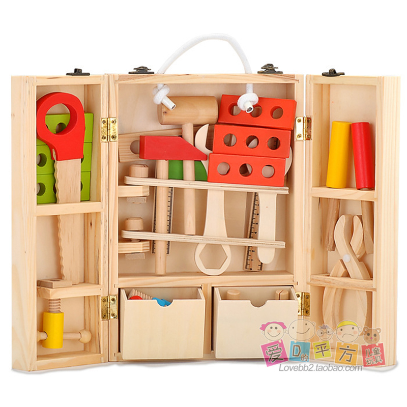 Conjunto de ferramentas de madeira crianças caixa de manutenção multifuncional brinquedos de construção de madeira para crianças