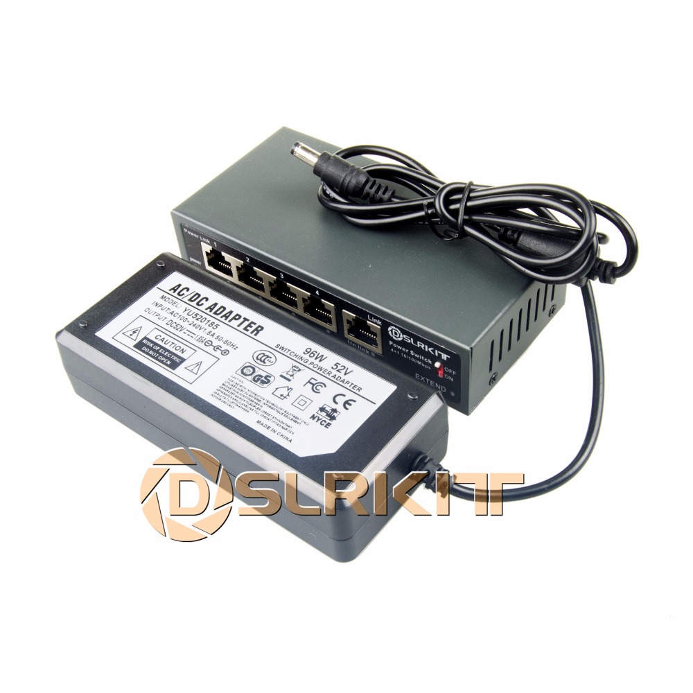 DSLRKIT 250 M 5 Poorten 4 PoE Switch Injector Power Over Ethernet 52 V 75 W Max.90W + 52 V 1.85A AC Power Adapter