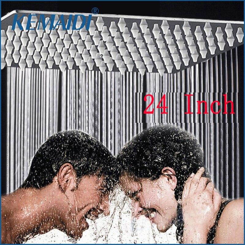 KEMAIDI 24 pouces Chrome pluie sur-tête lavage bain mural Style carré en laiton cascade douche gicleur pomme de douche