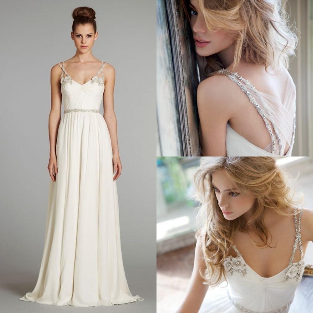 Beach Chiffon Wedding Dresses Beaded Spaghetti Straps Appliques V