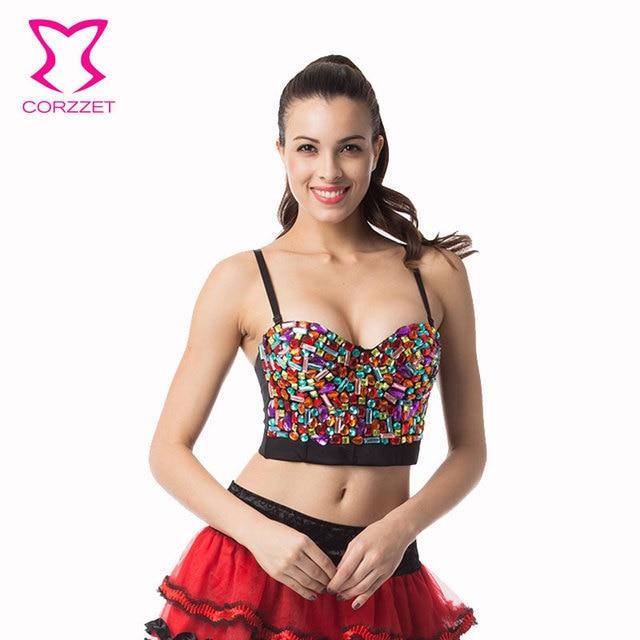 Corzzet  Rainbow Crystal Beading Sexy Women Bra Push Up Strapless Bralette Crop Top Performance Disco Ball Female Underwear