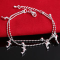 2016 New Fine Jewelry Silver Plated Jewelry Chain Bracelet 4 Pendants Solid Dolphin Charm Bracelets For Women Gift SL-045