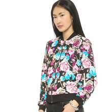 купить MINSUNDA Black Stand Collar Floral Print Casual Bomber Jacket Female Long Sleeve Zip Up Biker Jackets Women Streetwear Jacket дешево