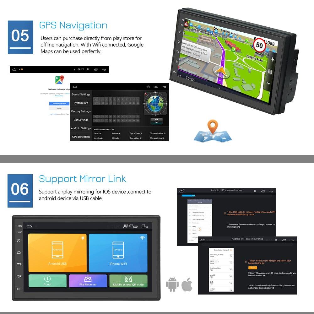 Podofo 2 din Автомобильный Радио Android GPS мультимедийный плеер авторадио 7 ''сенсорный экран Bluetooth FM WIFI Авто аудио стерео Mirrorlink