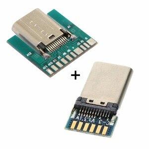 CY 1 zestaw DIY 24pin USB 3.1 typ C męski i żeński wtyk i złącze wtykowe SMT z płyta główna PC Cablecc