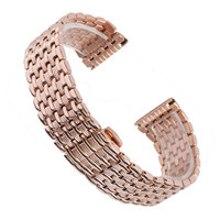 High Quality 18mm 20mm 22mm Stainless Rose Gold Watch Band Strap Adjustable Metal Luxury Watchband Replacement
