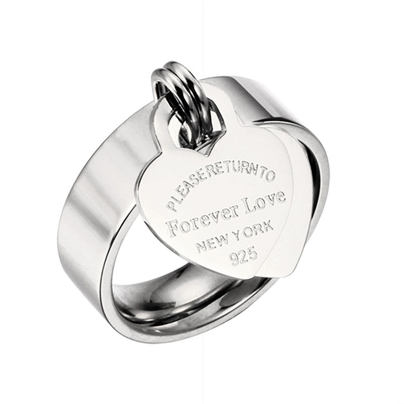 Wedding Stainless Steel HeartCharm Rings Silver Ring Girl Women's Rose Gold Ring Woman Jewelry Female Rings FeMale Jewelry