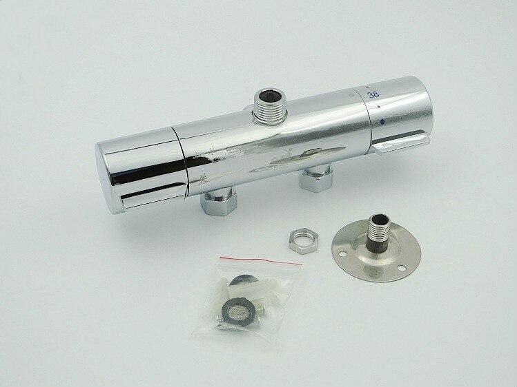 Robinet de douche thermostatique mitigeur robinet d'eau double poignée Chrome poli mitigeur thermostatique