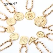hot deal buy ingemark charm carved coin bracelets bangles simple angel pendant beaded chain bracelets for women jewelry friendship bracelets