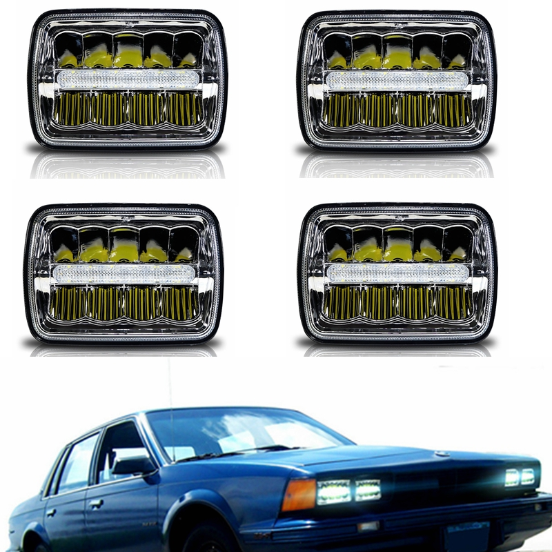 4x6 Inch Rectangular LED Truck Headlights DRL Sealed Beam Headlamp Replacement for H4651 H4652 H4656 H4666 H6545 (Chrome) флягодержатель bbb compcage пластик белый bbc 19