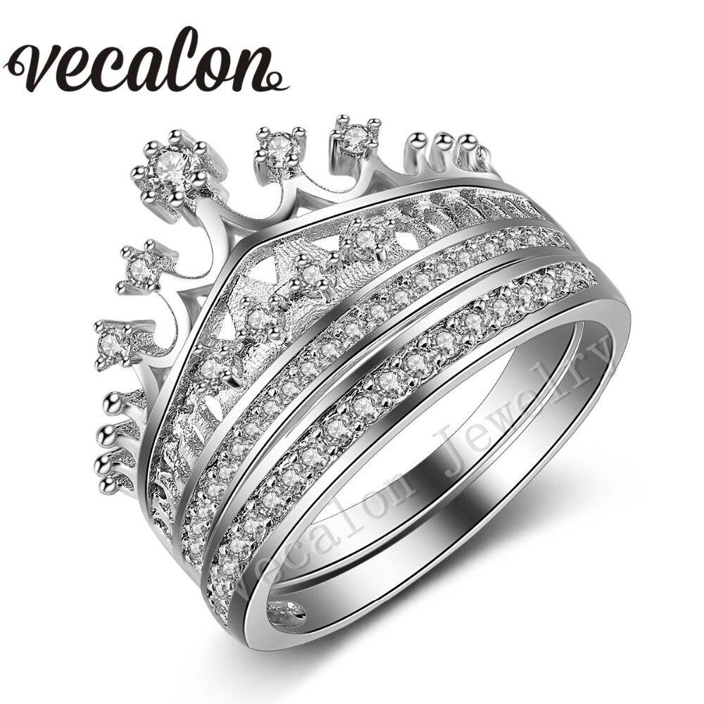 Vecalon 2016 mode femme couronne anneau AAAAA Zircon Cz 925 en argent Sterling bague de fiançailles de mariage ensemble pour les femmes cadeau