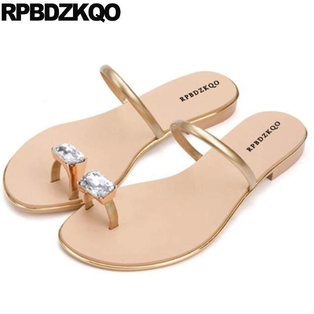 Famous Brand Red Luxury Shoes Women Designer Gold Flat Toe Ring Rhinestone  Jewel Slides Diamond Crystal Lady Summer Sandals 72a59343264e