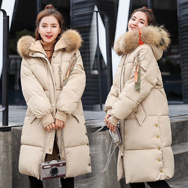 Padded Warm Down Jackets Womens Winter Plus Size Long Quilted Black Hooded Fur Coat Jacket 2018   Parkas   for Women Y17