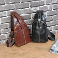 Men Faux PU Leather Chest Sling Bag Pack Fashion Male Casual Travel Crossbody Messenger Shoulder Money Bag Package