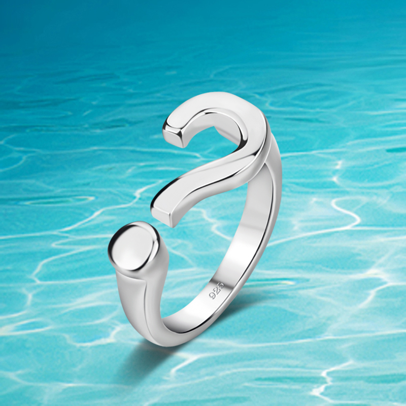 New on shelves!!925 sterling silver rings,woman ring,opening question mark ring simple fashion accessories