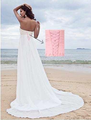 קיץ אונליין רומנטי כלה שמלת נוזל להרגיש שיפון ללא שרוולים תחרה סטרפלס מתוקה מתכוונן בתוספת גודל חתונה שמלה