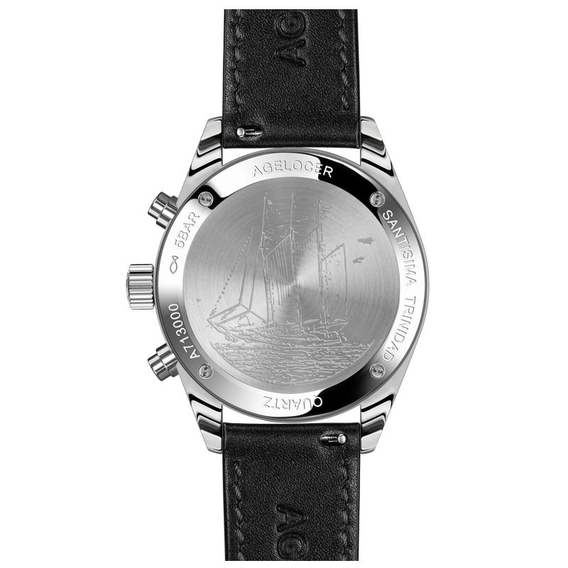 Nieuw Zilver Bezelleer Lederen Band Polshorloge Zwitserse - Herenhorloges - Foto 2