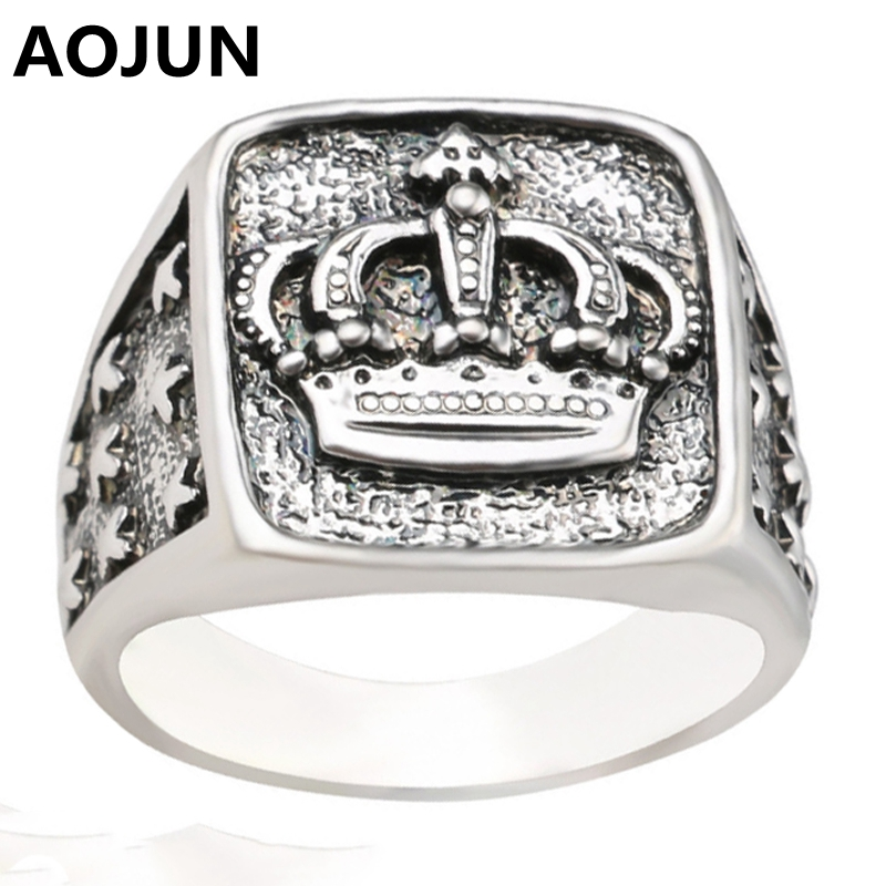 AOJUN Cool Male Vintage Crown Ring Antique Silver Plated Wedding Engagement Rings For Women Men Fashion Jewelry 2017 New In From Accessories