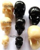 Основная gergous акриловых смол пластиковые 25 x 50 мм 100 шт., Череп скелета cabachons черный реактивные белый смешанный украшения бусины фокусное расс