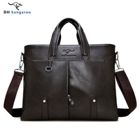 DH Kangaroo Top Sell Fashion Simple Famous Brand Business Men Briefcase Bag Leather Laptop Bag Casual