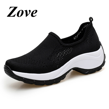 ZOVE Women Mesh Sneakers 2019 Summer Breathable Slip-on Flat Shoes Ladies Shoe Casual Knit Platform Walking Sock Sneaker Loafers 1