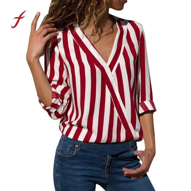 Feitong 2018 otoño Sexy cuello en V mujeres Camisas blusa rayada manga larga  Irregular trabajo Oficina f4f31b78ace