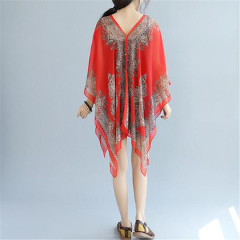 Boho Batwing Sleeve Chiffon Blouse Women Casual Floral Print Loose Kimono Shirts Big Size Beach Tunic Tops Peplum Blusa Robe 2