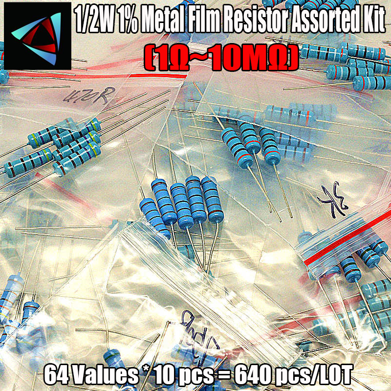 640pcs 1/2W 1% 1 Ohm ~ 10M Ohm Metal Film Resistor Assorted Kit Pack 64 Values  ,10pcs Each Value
