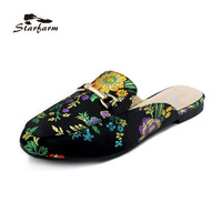 Original STARFARM T01 Satin Embroidery Backless Slip On Loafers Flat Shoes Mule Slippers With Metal Buckle