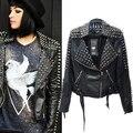 Высокая - класса марки Rock панк заклёпка змея полиуретан кожа мотоцикл байкер стиль короткая женщины в женское куртка верхней одежды