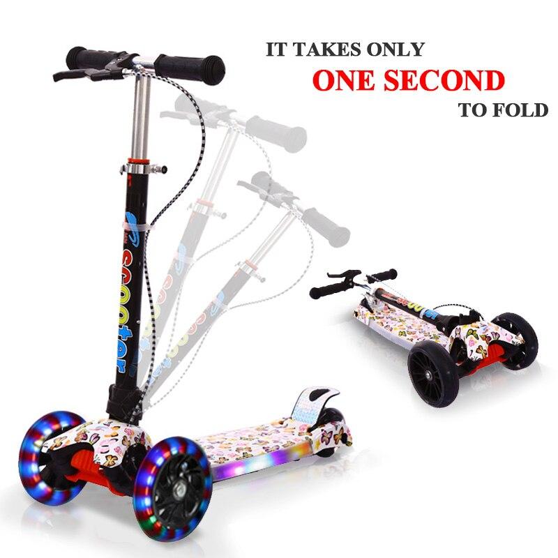 Vélos Scooter pliant Dazzle Couleur Roue Cadeau pour enfants En Plein Air Fun jouets d'exercice Scooter Enfants Planche À Roulettes