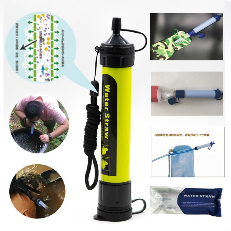Outdoor filtration Survival Camping Hiking Equipment Military Mini Water filtration Portable Water Straw Filter colors available