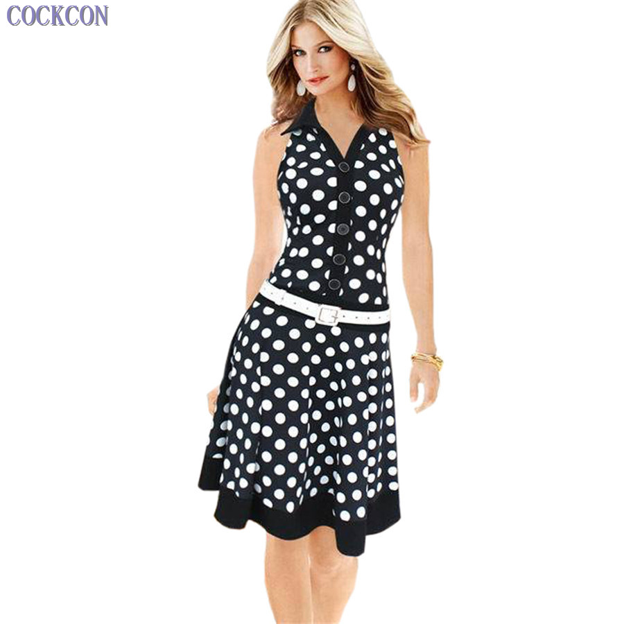 Perfect world clothing, fashion table COCKCON Lady New Women Sleeveless Fit And Flare Button Sashes Summer Dress