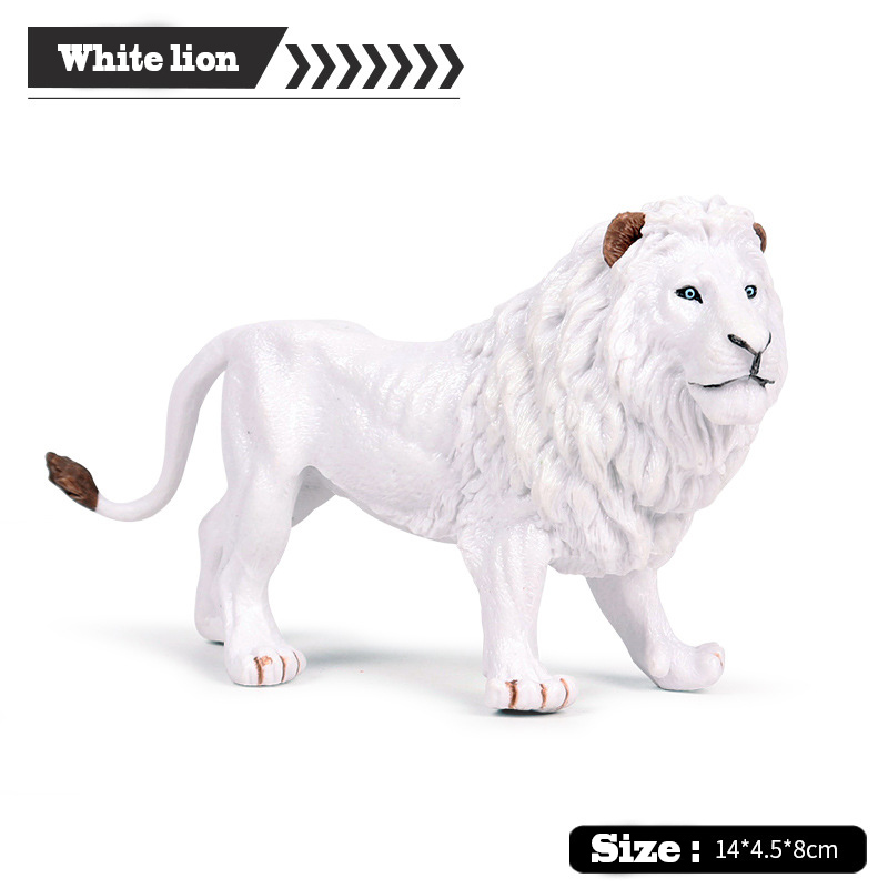 Model-Toy Animal White Action Lion-Figure-Authentic for Students. Hand-Painted-Hole Wildlife