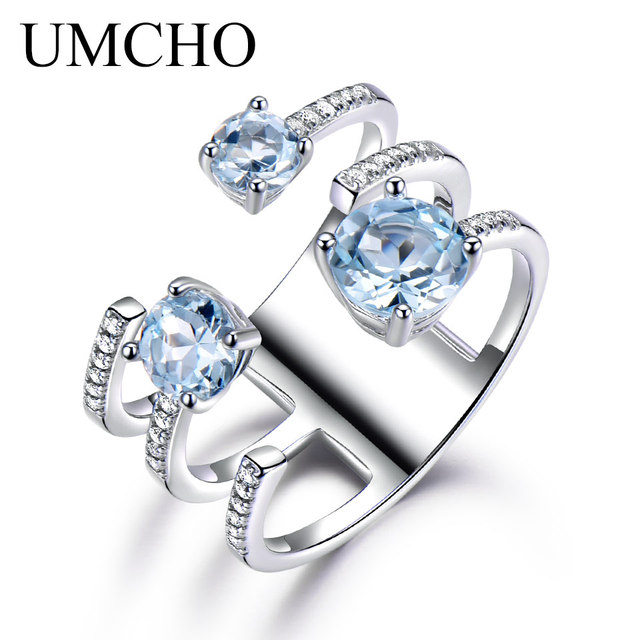 UMCHO 1.37ct Genuine Natural Sky Blue Topaz 925 Sterling Silver Double Ring Gems